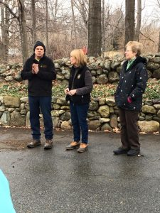 Governor Hassan tapping a tree at Treats Sugarhouse in Bow